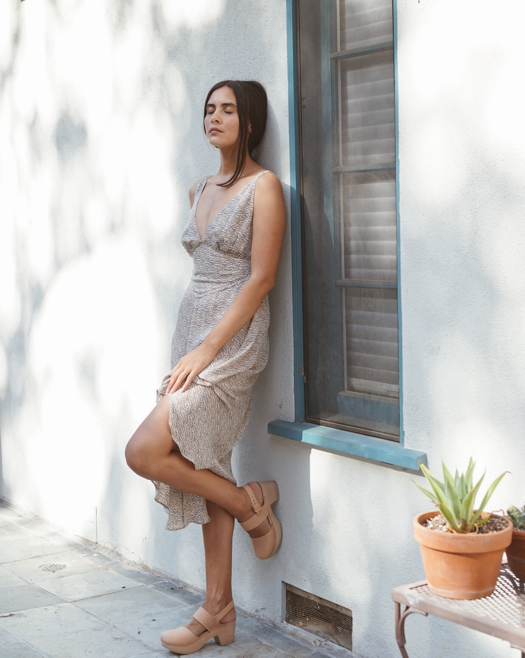 Olga Kapustina Silk Georgette Slip dress in Print +   Zuzii   Closed Toe Clogs in Natural.