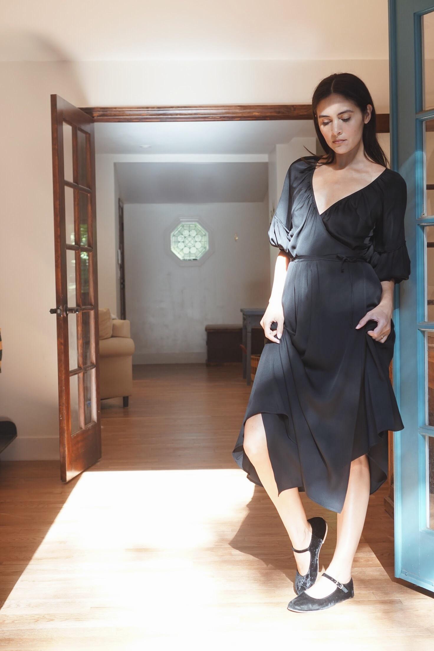 Olga Kapustina Silk Georgette Wrap Dress in Black +  Doen Mary Jane Slipper.