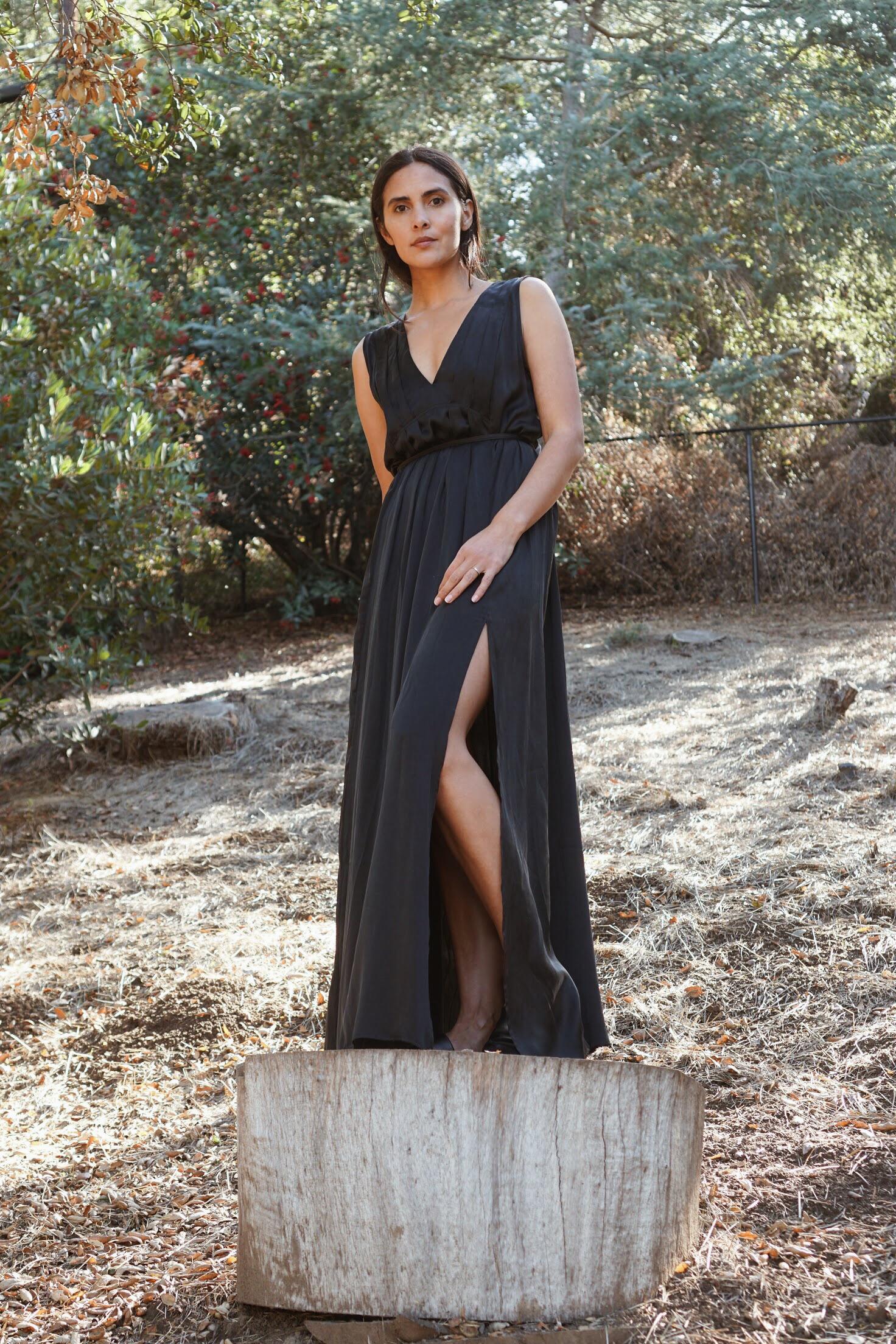 Raven & Lily Ana Silk Pleat Maxi Dress in Black.