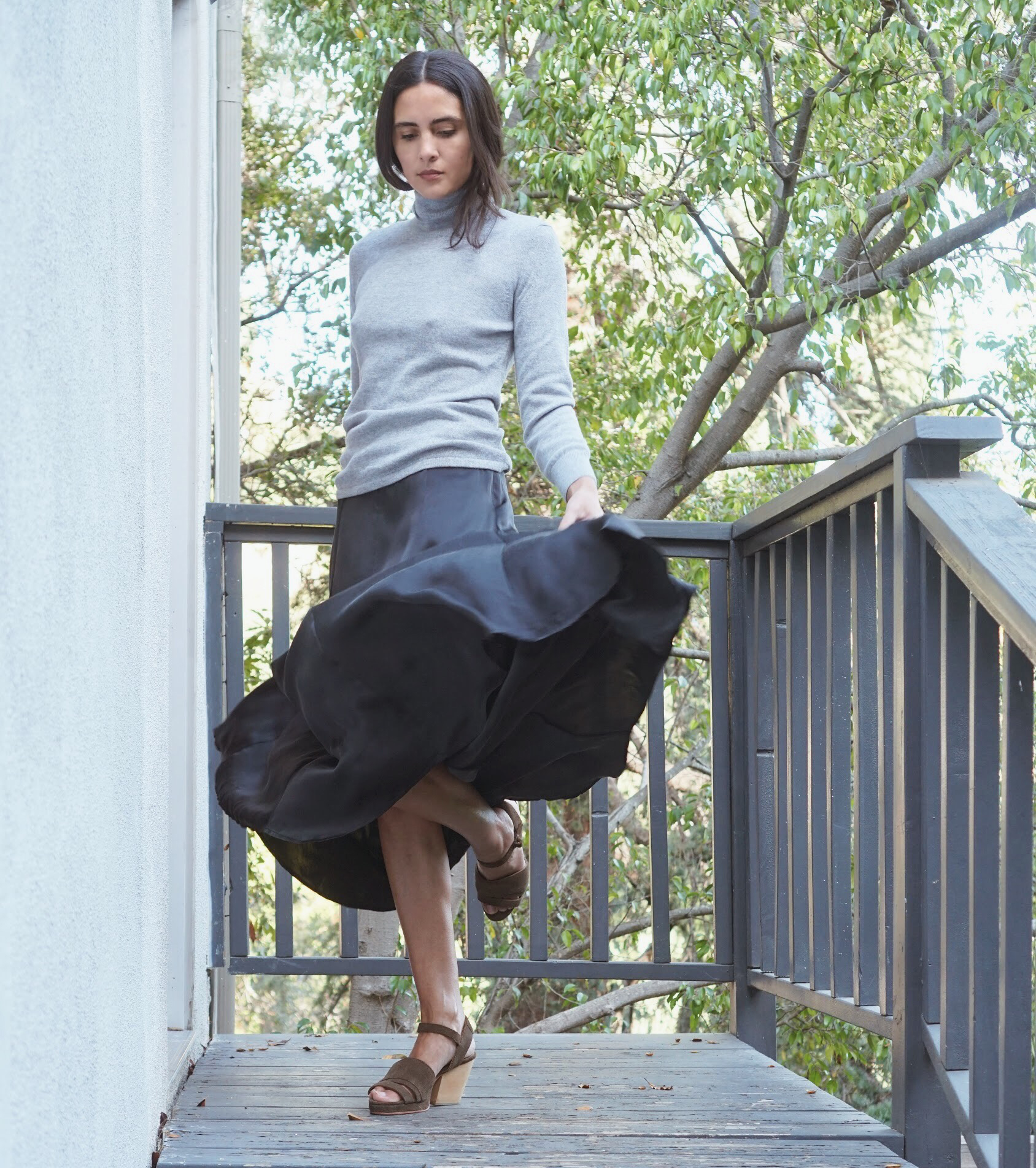 Maiyet Cashmere Turtleneck Sweater in Grey +  Raven & Lily  Nurul Full Silk Maxi Skirt in Black.