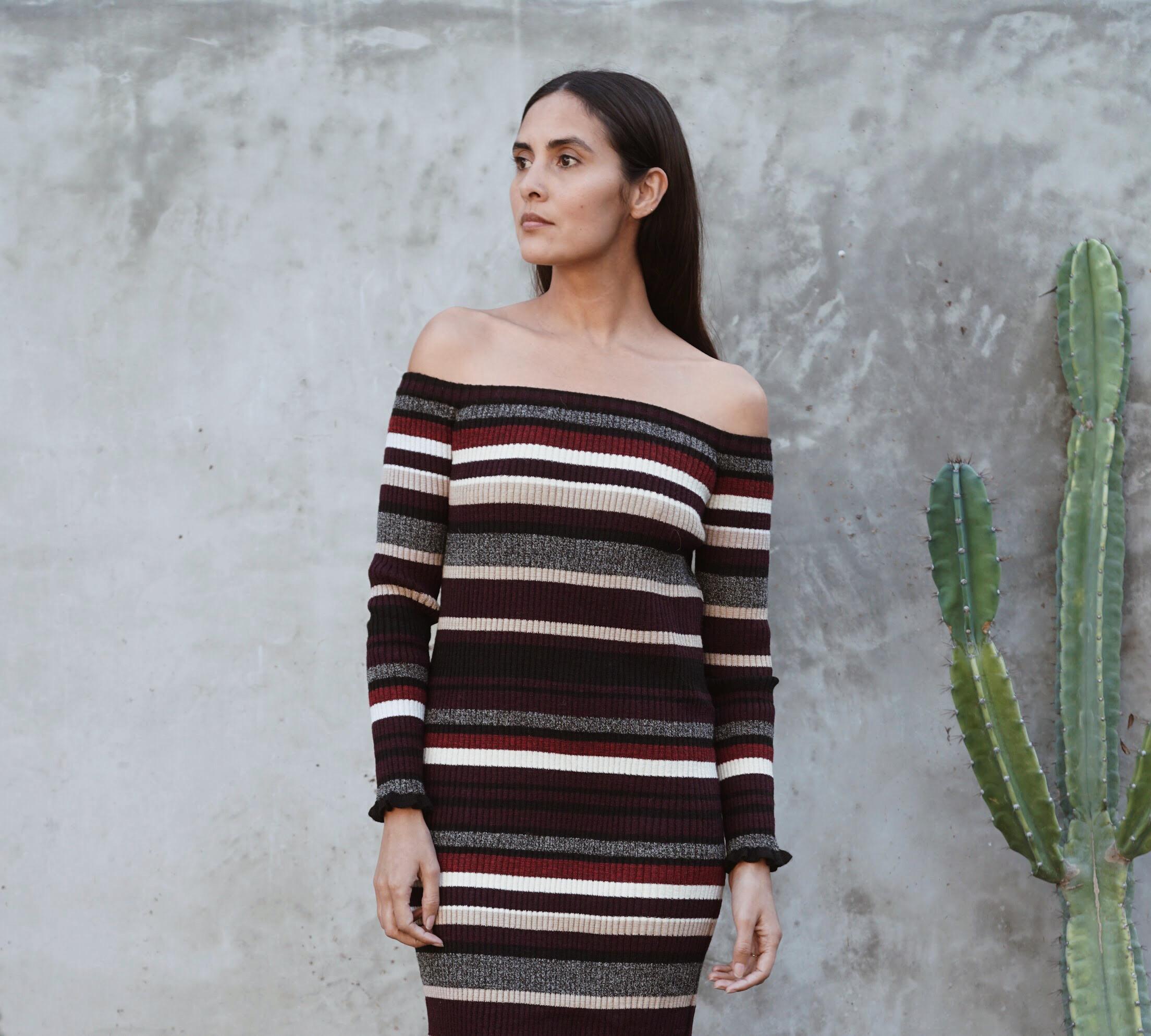 Eleven Six  Off Shoulder Sweater Dress in Multi +   Zuzii   Closed Toe Clogs in Natural.