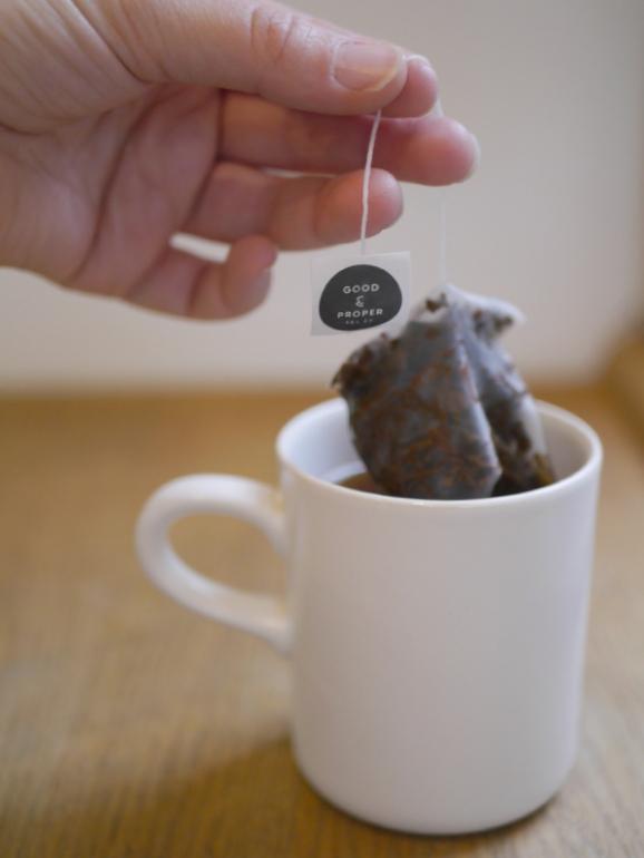 Good & Proper tea bag in cup