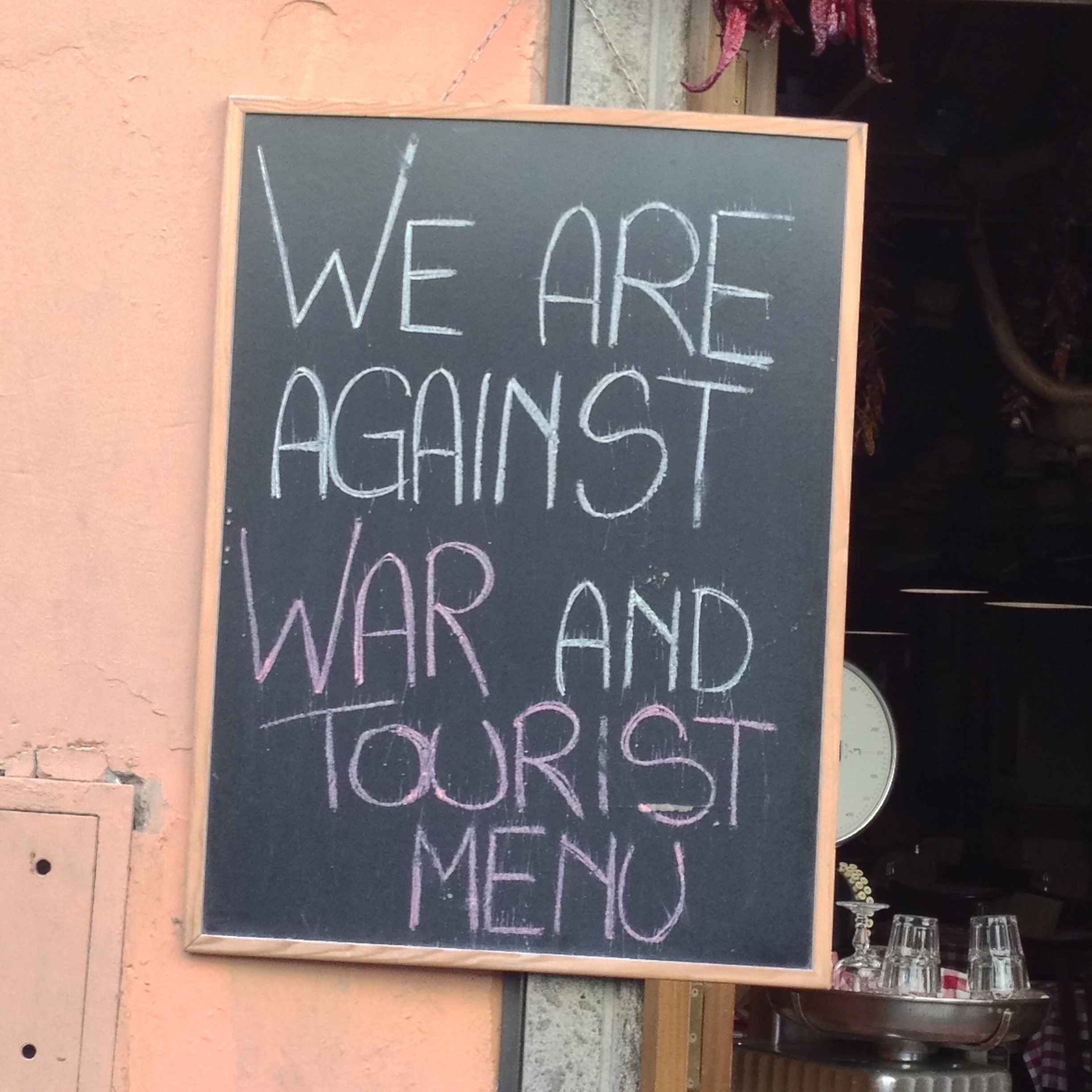 Restaurant sign, Trastevere, Rome, food and wine tour, Italy.
