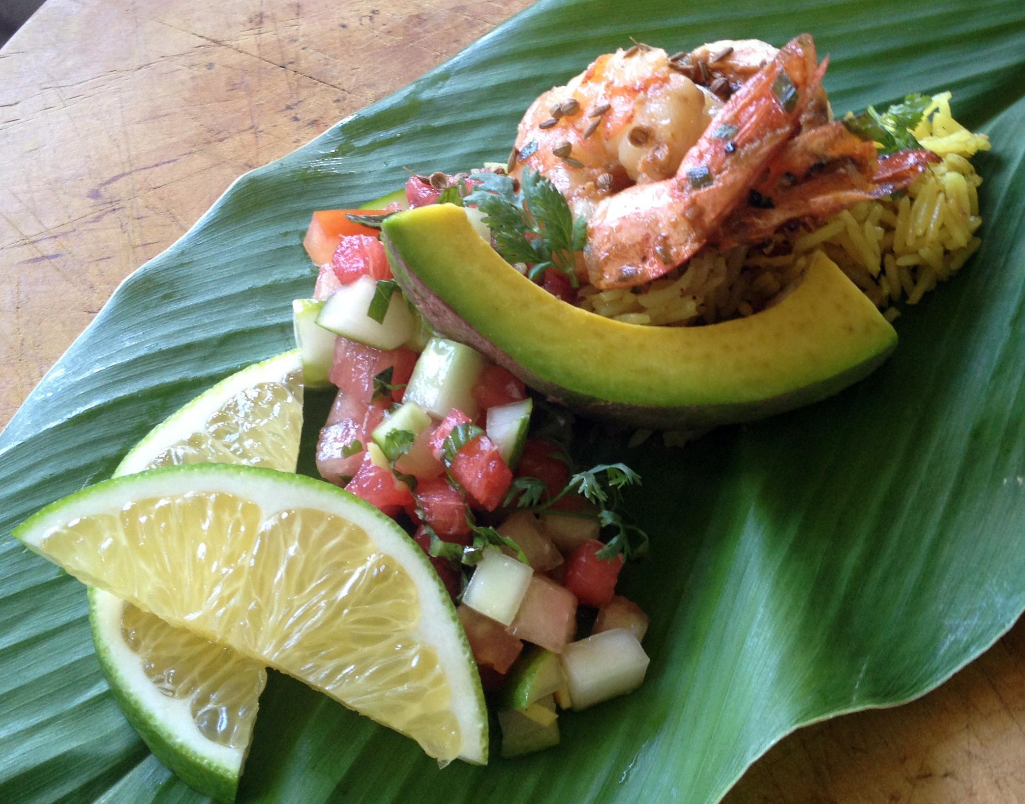 Chef Jonathan Deardon shrimp with coconut rice