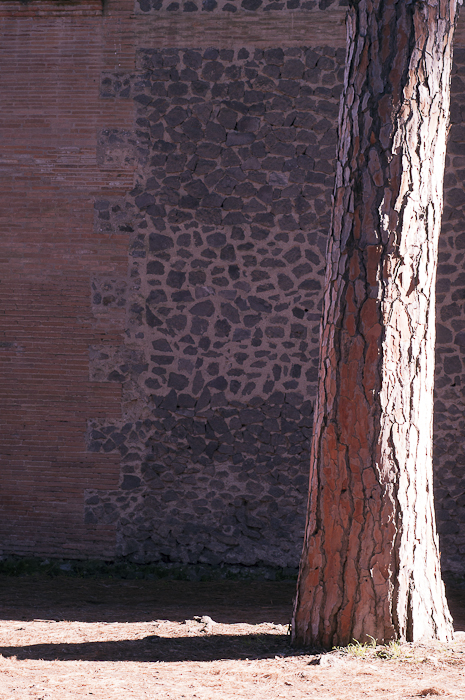 A wall outside the amphitheater at Pompeii
