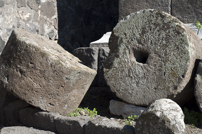 Giant stone wheels for pressing olive oil
