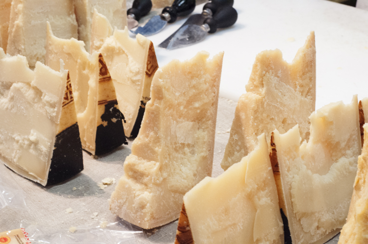 A selection of Italian hard cheeses at Salone del Gusto