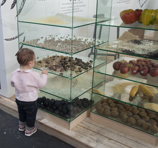 A small foodie checks out exotic nuts and pods at Salone del Gusto 2012