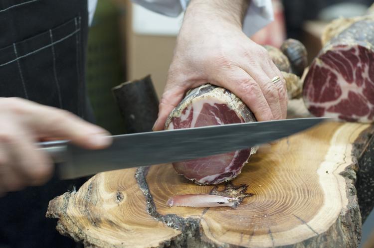 Hand-sliced salami to sample at Salone del Gusto