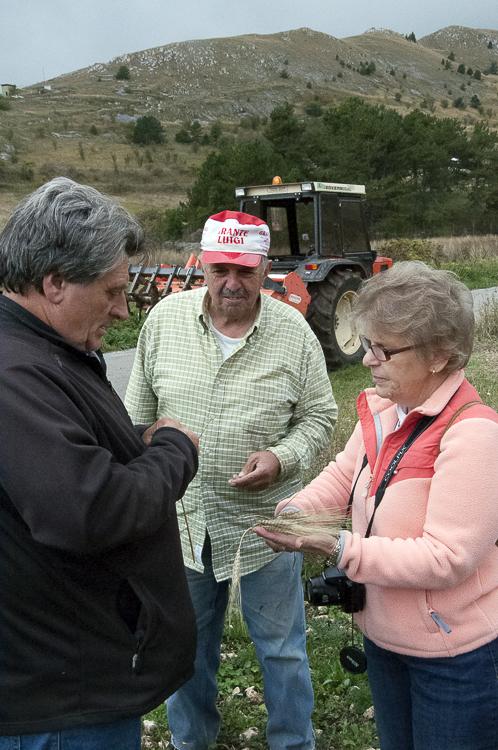 Alessio, Francesco and Bonnie check out the grains in Santo Stefano di Sessanio, Abruzzo.