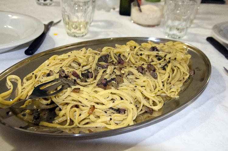 Tagliatelle with Porcini and Guanciale at La Bettola di Gepetto.