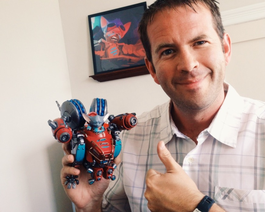 Lance Priebe with Mech Mice Prototype by PlaymateS Toys