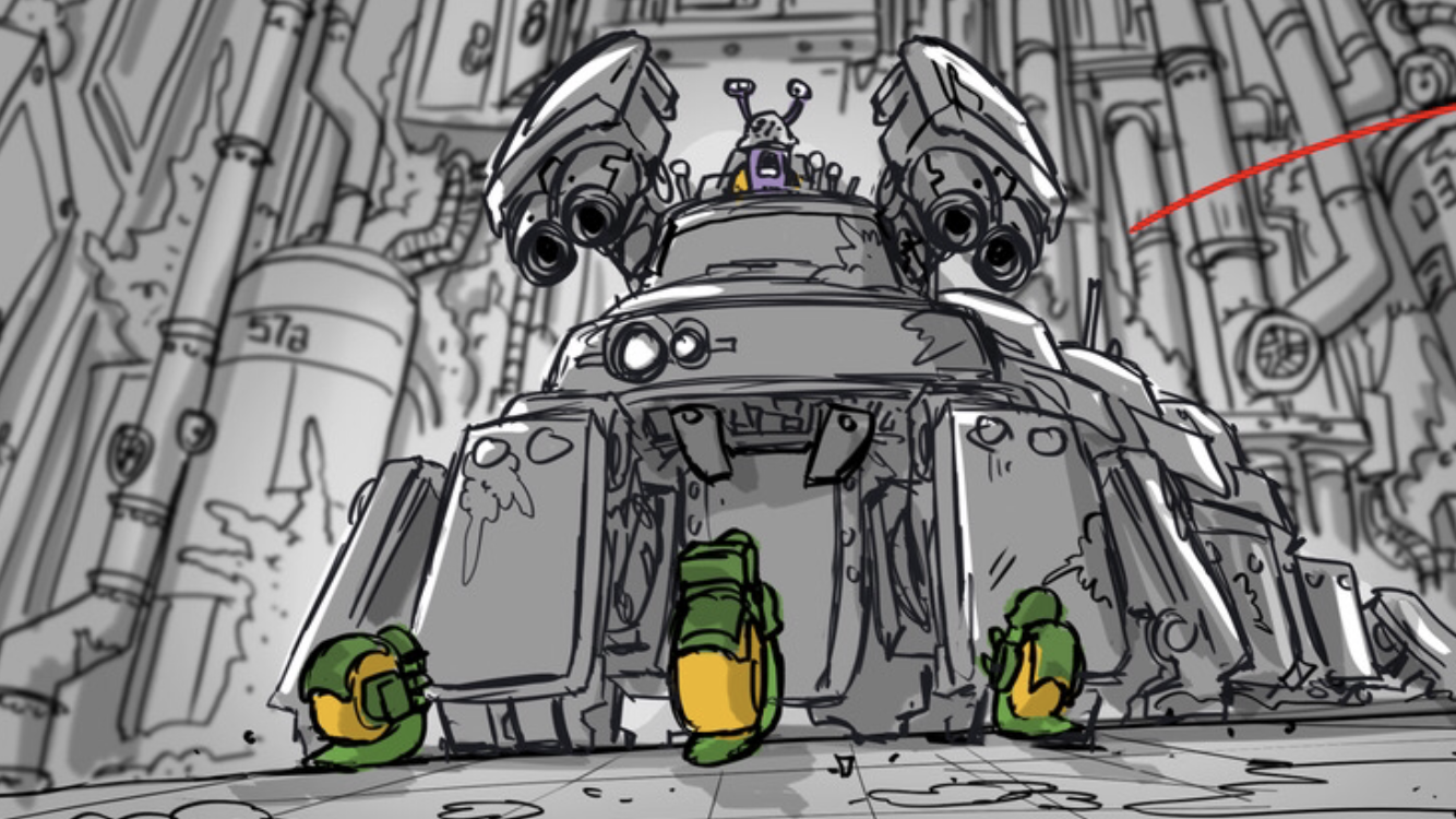 Concept artwork from one of the cooperative boss levels from Epic Snails
