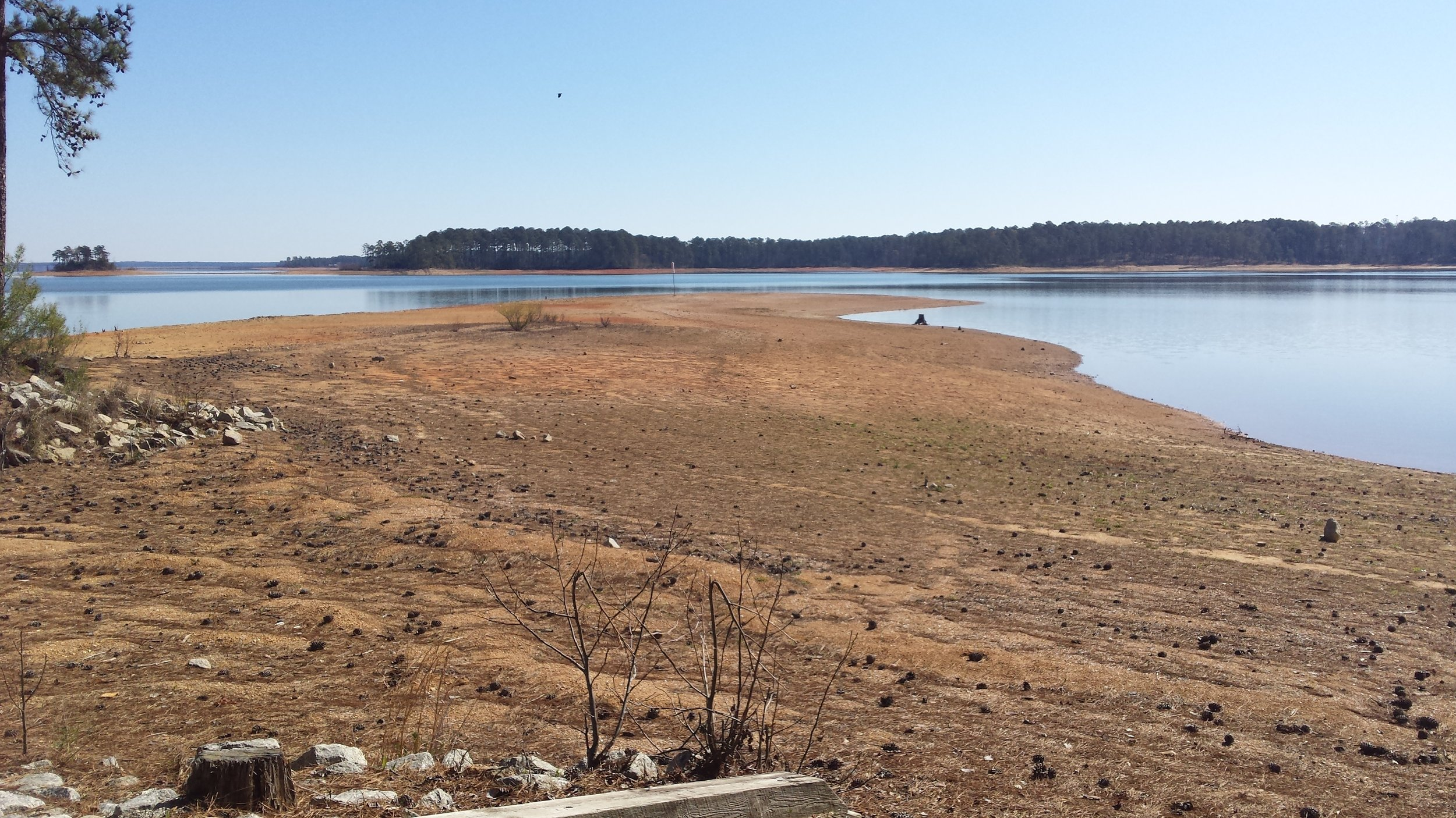 Winter low-water level at Clarks Hill Lake, Appling, Georgia