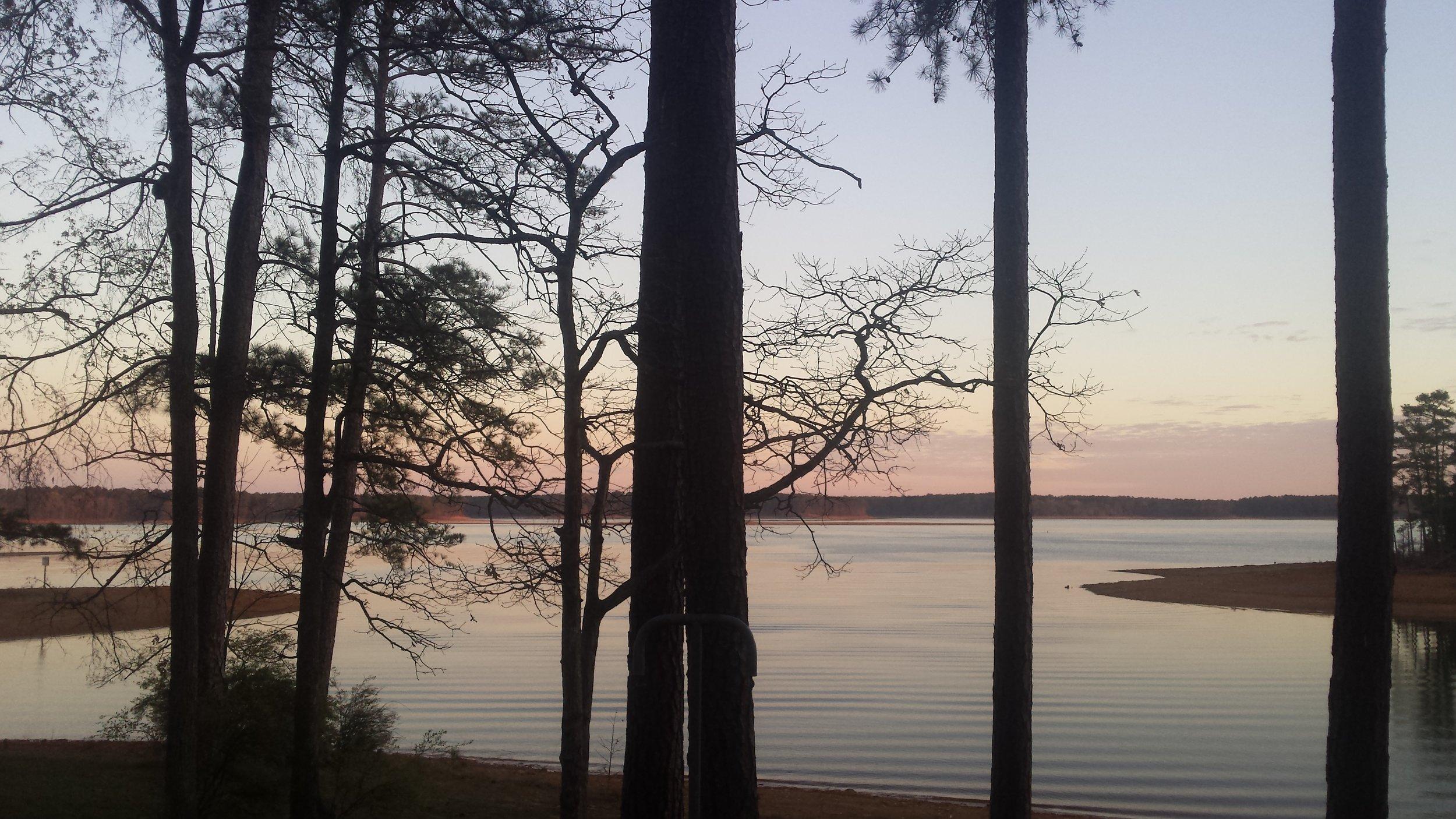 Winter sunset on Clarks Hill Lake, Appling, Georgia