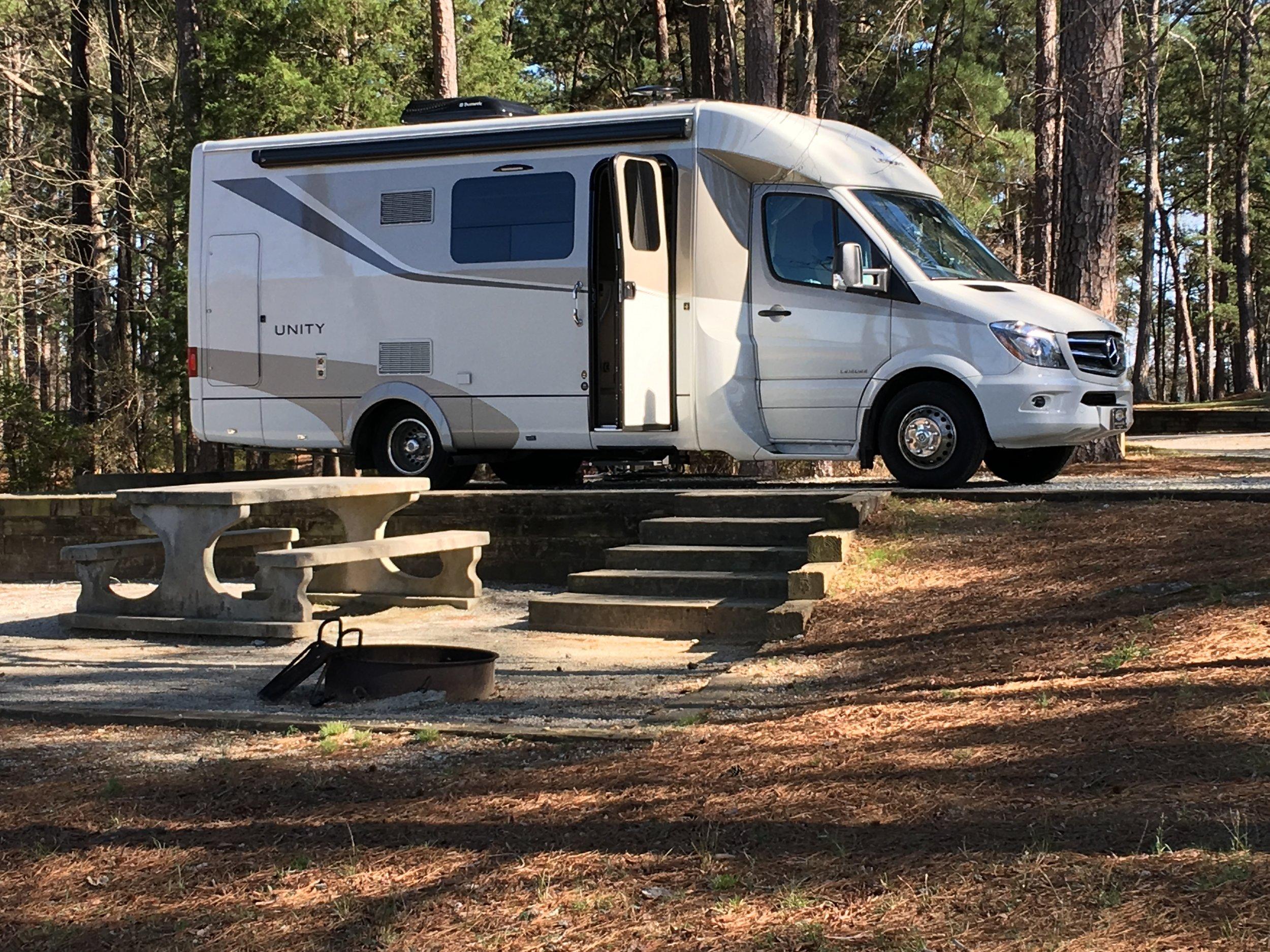 Lakefront campsite at Mistletoe State Park, Appling, Georgia