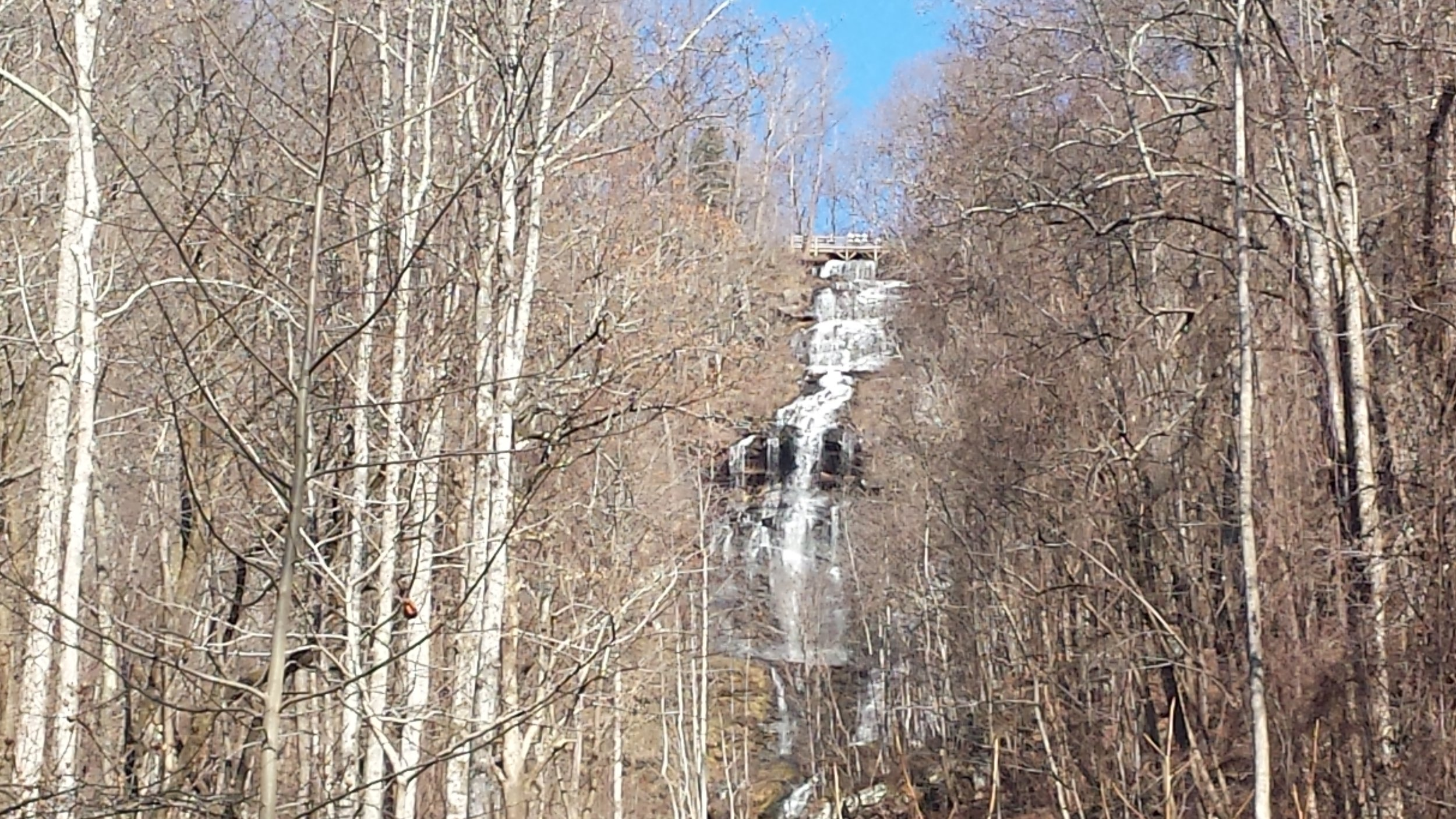 Amicalola Falls drops 700 feet to the valley below