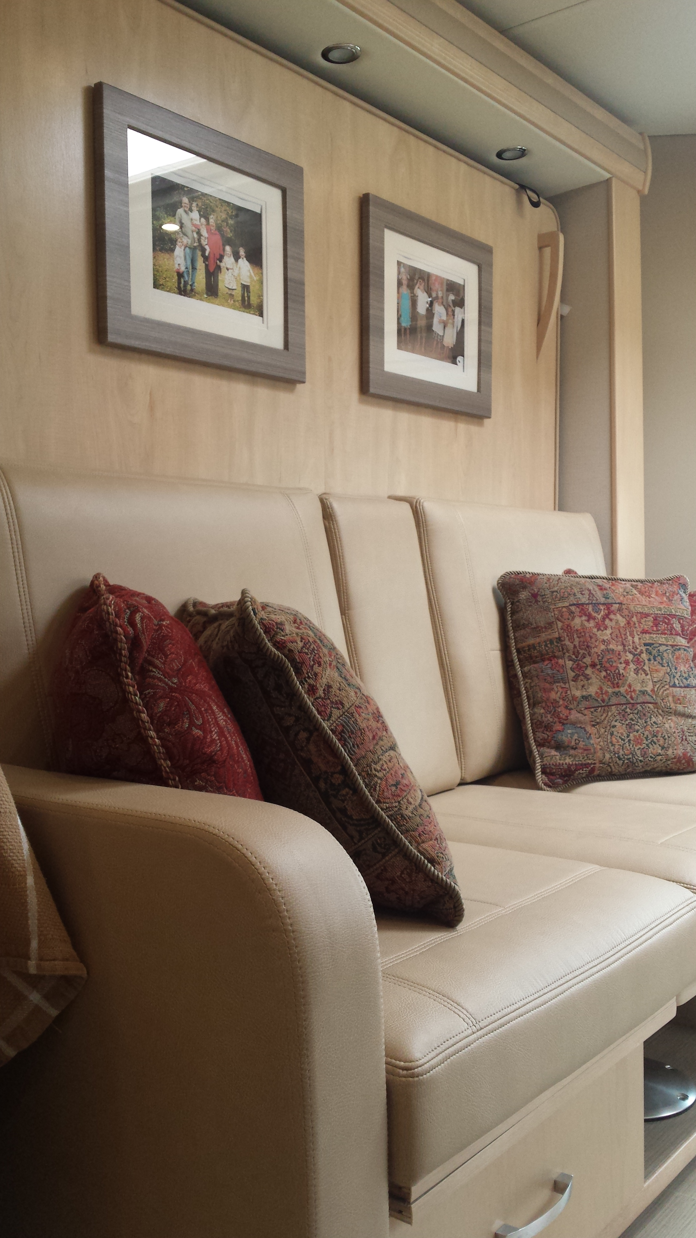 Making the most of a space in our small rv, there is a Murphy Bed behind the couch.
