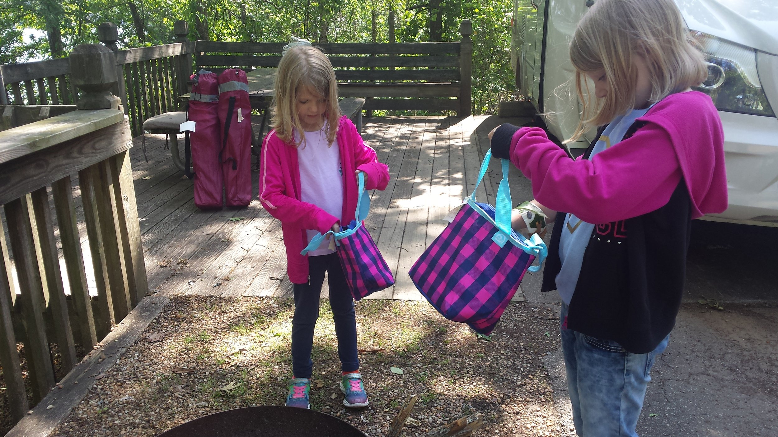 First day in camp, the kids inspected their new hiking bags
