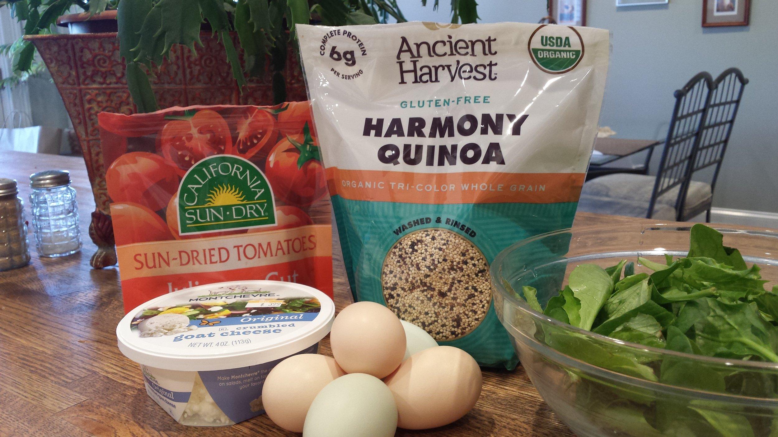 Simple ingredients for Quinoa Eggs Benedict