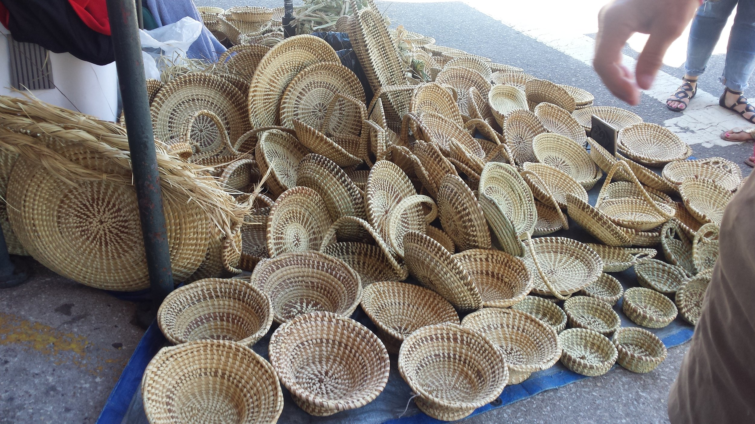 Sweetgrass basketry is an art form in Charleston.