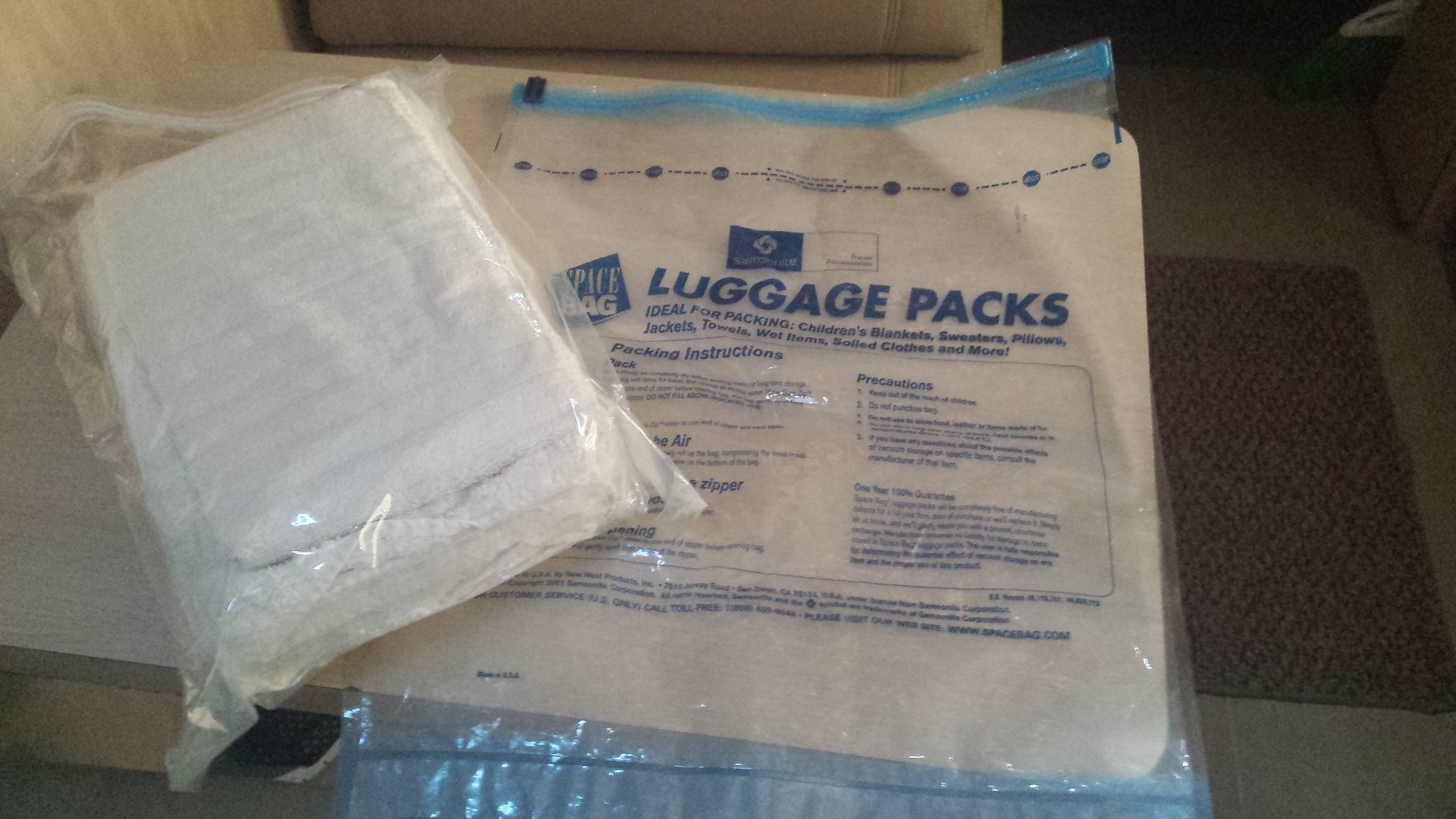 Space bags help organize small RV closets and keep extra clothes clean and dry