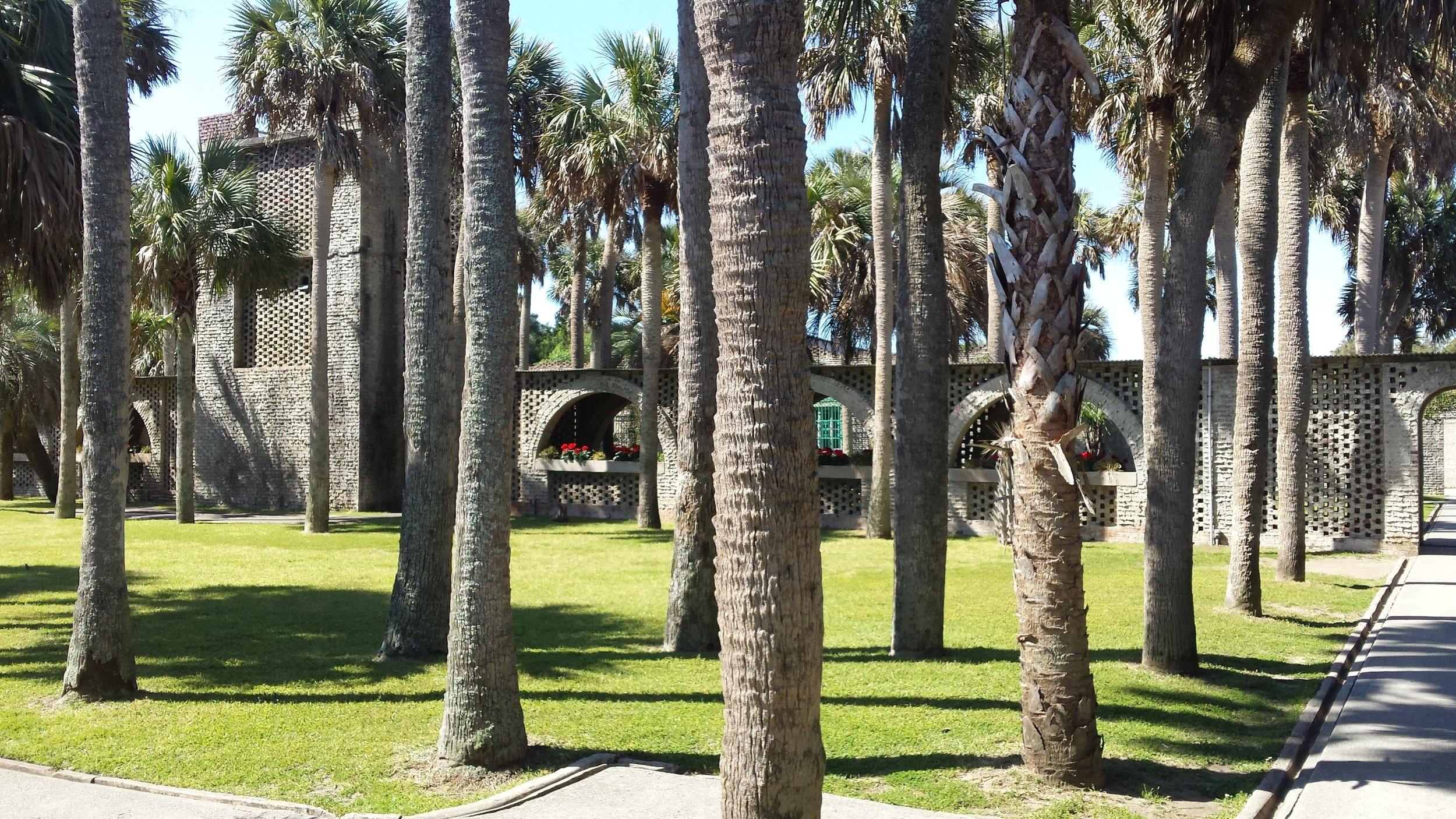 The courtyard filled with palms and the water tower