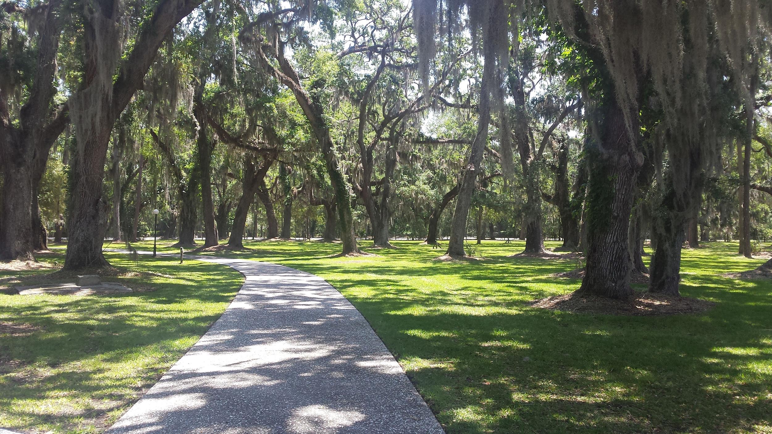 Bike paths thread around Jekyll Island. This one is through the historic village.