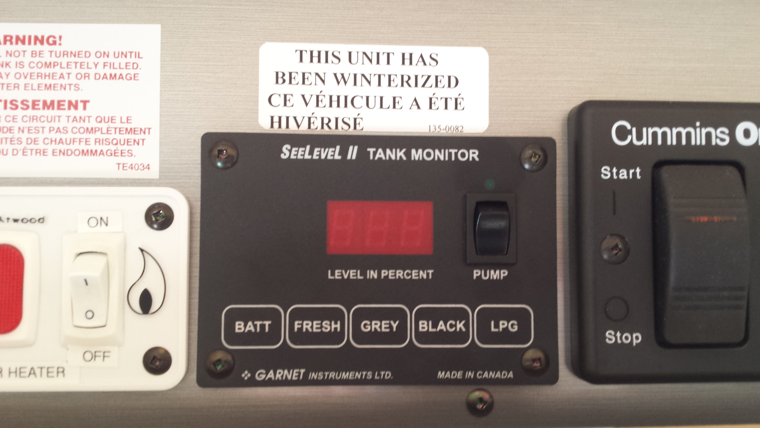 Keep an eye on the tank levels with the tank monitor panel.