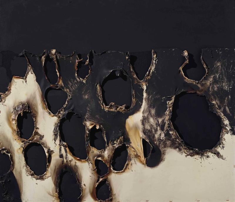 Alberto Burri,  Combustioni Plastica ,1956, mixed media,85.7 × 100.0cm.   https://www.artbasel.com/catalog/artwork/55086/Alberto-Burri-Combustione-Plastica
