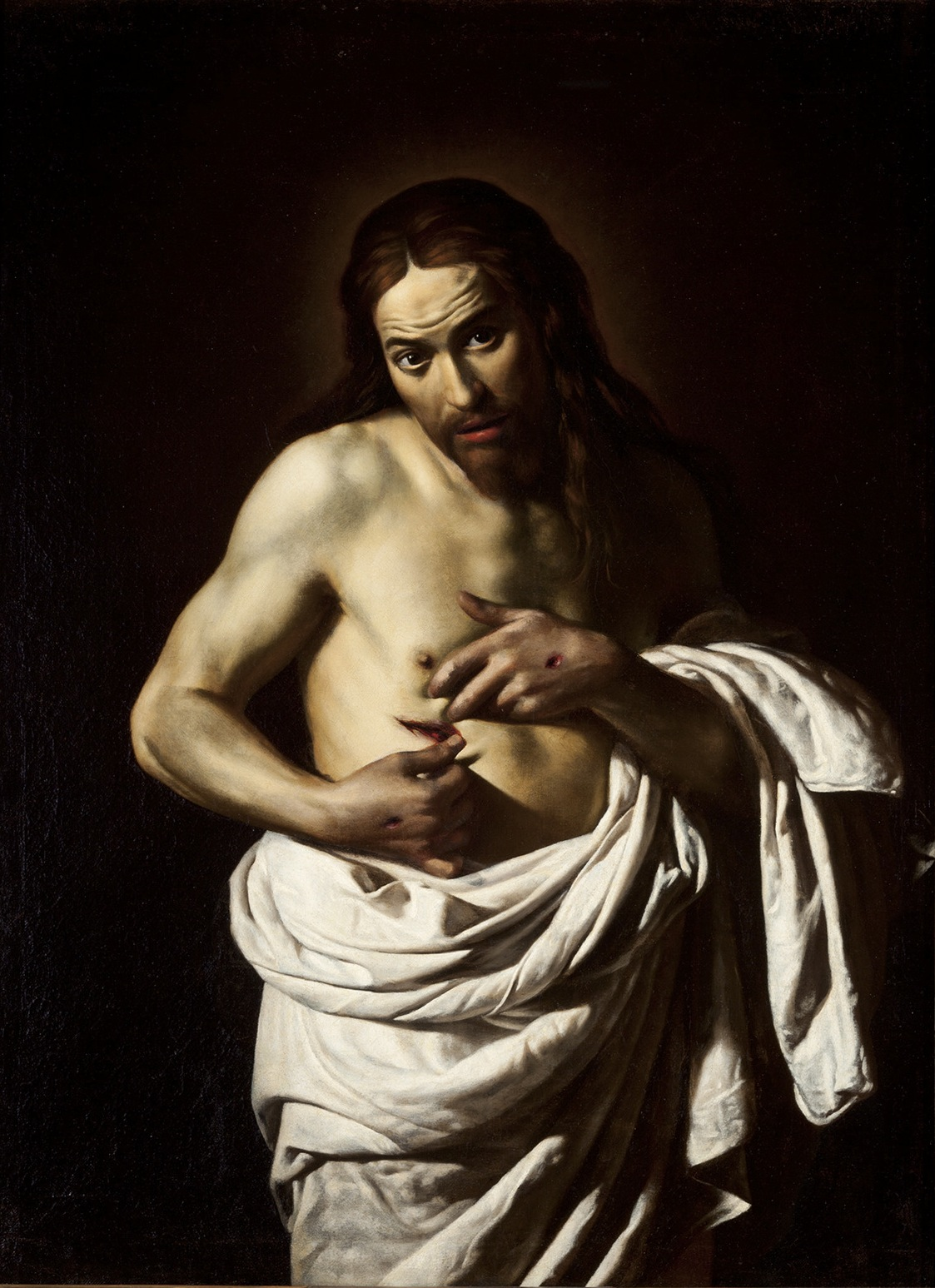 Giovanni Antonio Galli, Christ Displaying His Wounds,  c.1630, Perth Museum and Art Gallery  https://theidlewoman.net/2016/11/27/beyond-caravaggio/christ-displaying-his-wounds-about-1610-20/