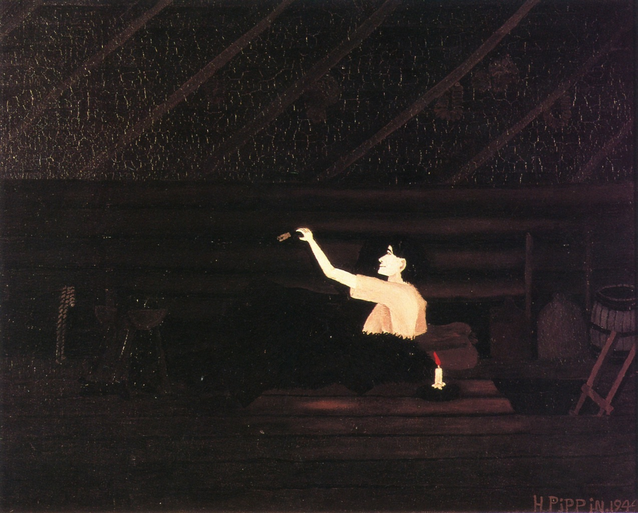 Horace Pippin, Abe Lincoln's First Book, 1944  http://www.the-athenaeum.org/art/full.php?ID=111250