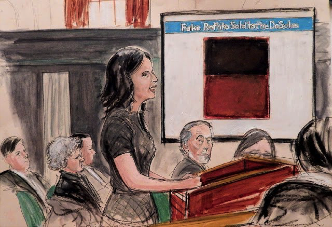A Courtroom Sketch of Domenico De Sole's lawyer, Emily Reisbaum, making her opening statement at the Knoedler gallery trial. Image: Elizabeth Williams, courtesy ILLUSTRATED COURTROOM. Sourced from: 'Top 9 Takeaways from Knoedler Forgery Trial', Artnet News,    https://news.artnet.com/exhibitions/top-takeaways-from-knoedler-forgery-trial-426086