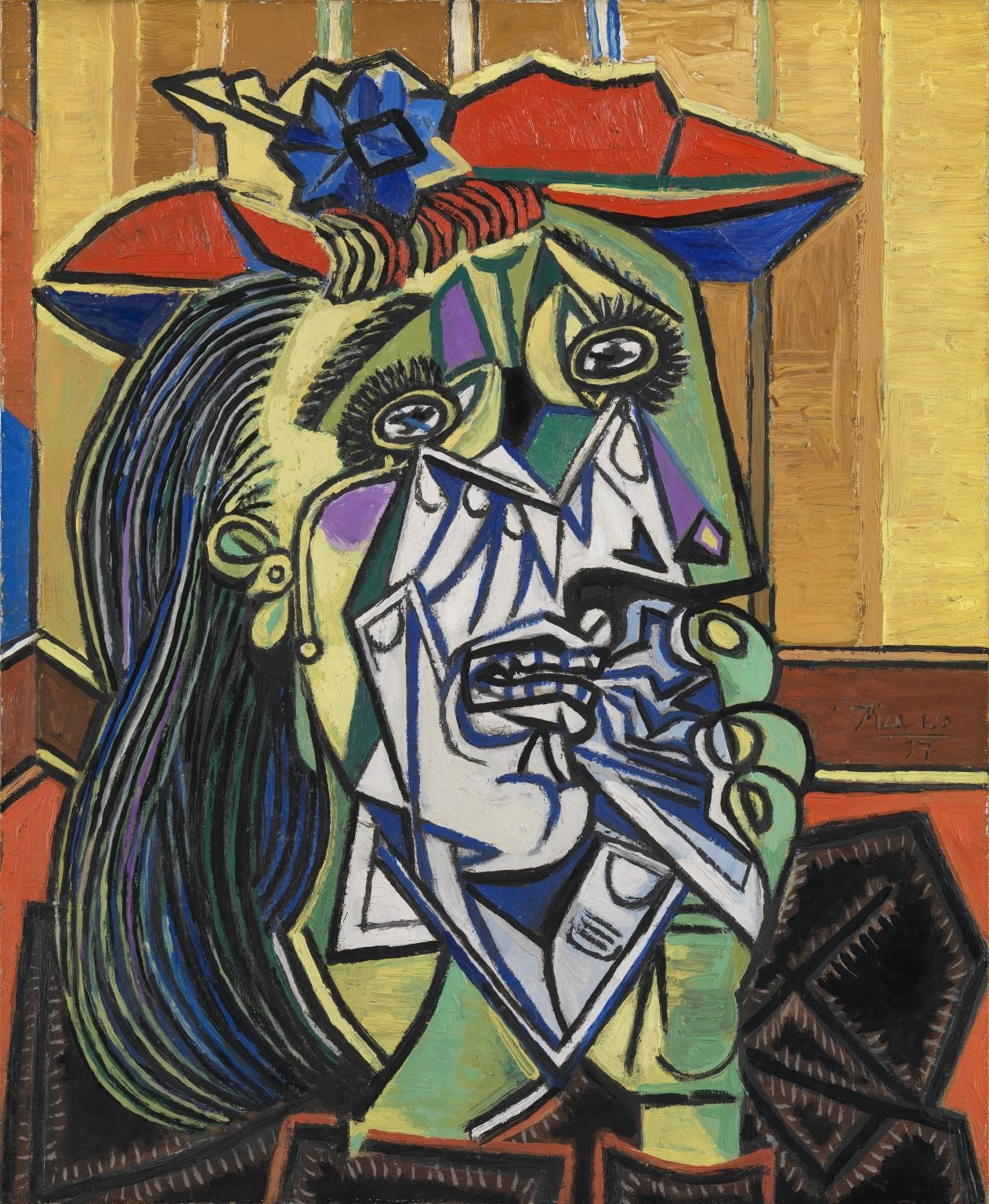 Pablo Picasso,  The Weeping Woman , 1937, 60 x 49 cm, oil on Canvas, Tate Modern.   http://www.tate.org.uk/art/artworks/picasso-weeping-woman-t05010