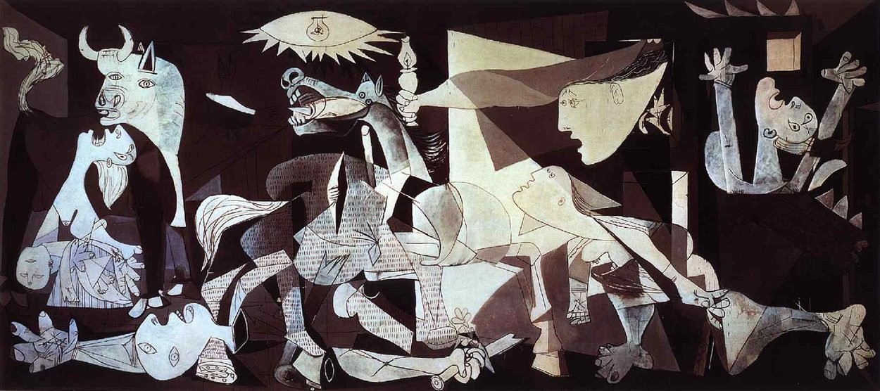Pablo Picasso,  Guernica , 1937, Oil on Canvas, 3.49 x 7.77 m, Museo Reina Sofia Madrid   https://www.pablopicasso.org/guernica.jsp