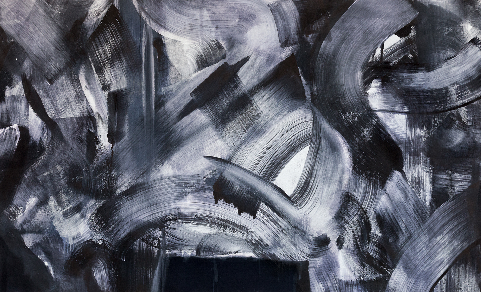 Max Martyns,  Ink 81, 2016, ink and house paint on canvas 200x120cm.  Image source: Max Martyns