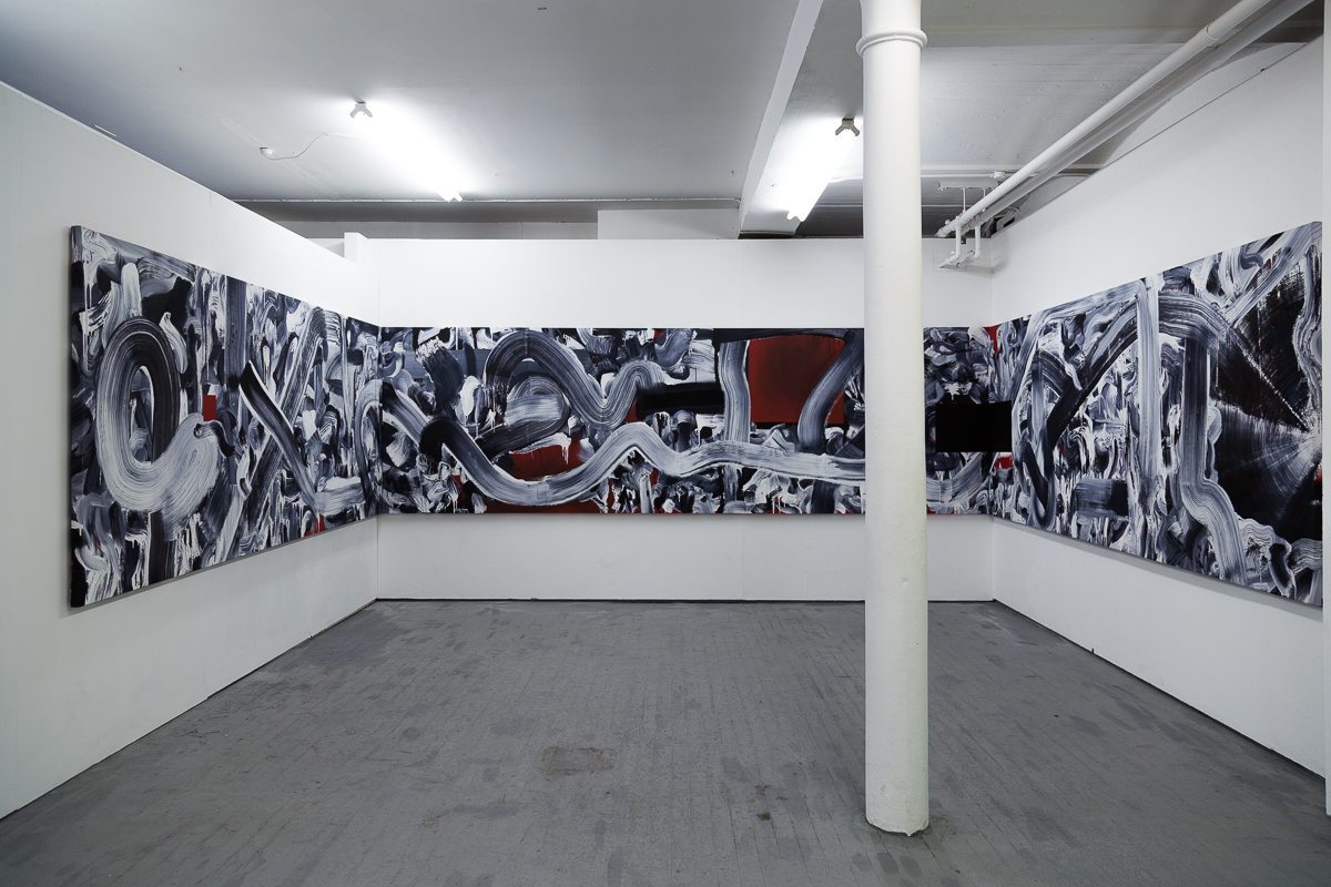 Max Martyns, Ink 100, 2016, ink and house paint on canvas 1158x150cm.  Image source: Max Martyns