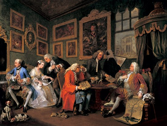 William Hogarth,  Marriage a la Mode 1, The Marriage Settlement,  1743, The National Gallery, London.   http://www.tate.org.uk/whats-on/tate-britain/exhibition/hogarth/hogarth-hogarths-modern-moral-series/hogarth-hogarths-2