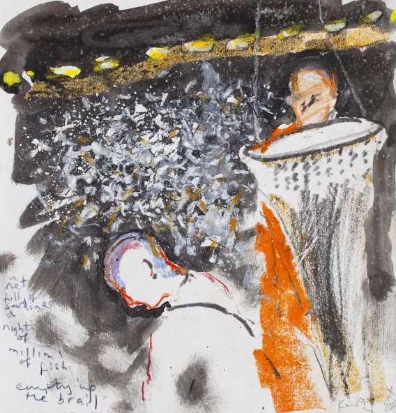 Kurt Jackson,  A Night Full of Sardines,  2013, mixed media on paper, 25x24 cm.   http://www.kurtjackson.com/Line-caught-and-local-2014.html