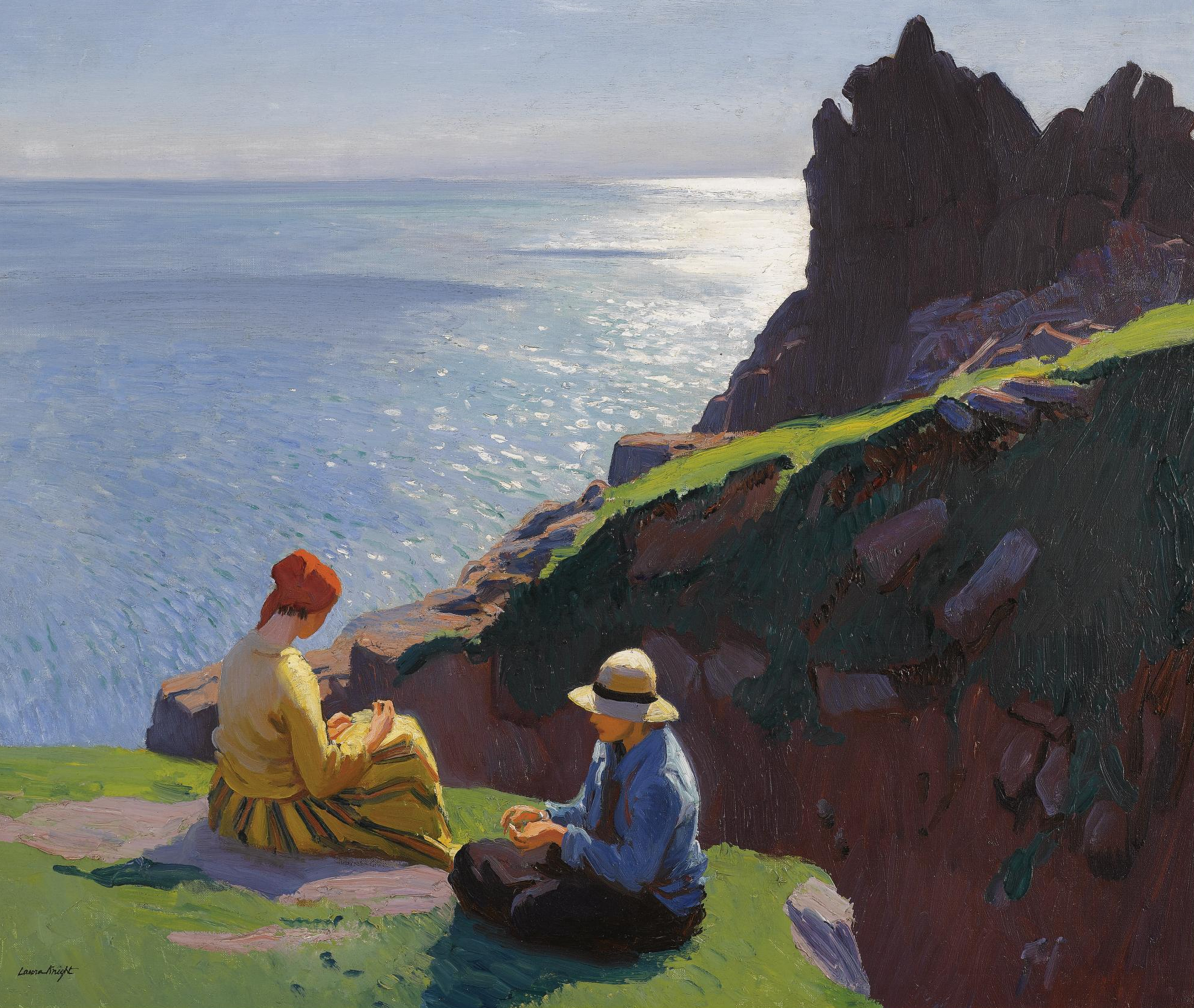 Laura Knight,  On the Cliffs,  1917, oil on canvas, 63.5x76cm, Sotheby's.   http://www.sothebys.com/en/auctions/ecatalogue/lot.85.html/2009/victorian-edwardian-art-l09688