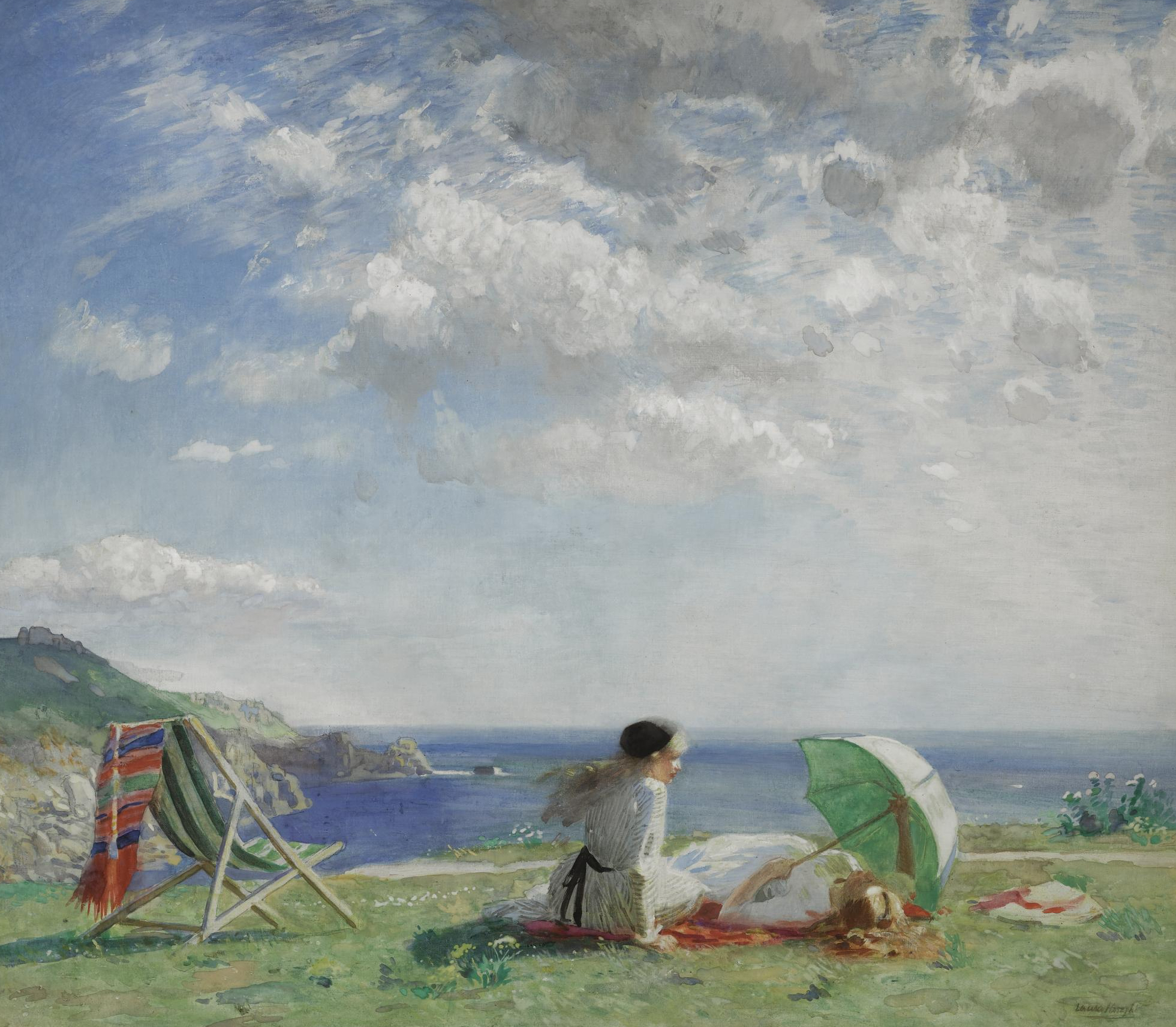Laura Knight,  Wind and Sun,  1913, watercolour with bodycolour over pencil on linen, 96.5x112 cm, Sotheby's.   http://www.sothebys.com/en/auctions/ecatalogue/2009/victorian-edwardian-art-l09687/lot.69.html.html