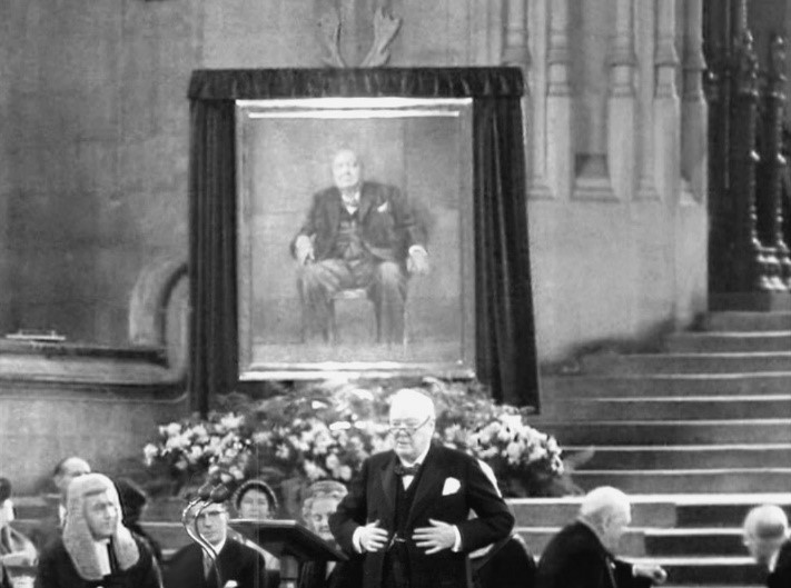 Unknown , Churchill and His Portrait,  1954, Photograph https://i0.wp.com/iconicphotos.wordpress.com/files/2009/06/winston-chruchill.jpg
