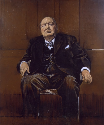 Graham Sutherland, Winston Churchill, 1954, Oil on Canvas, Destroyed. https://en.wikipedia.org/wiki/Sutherland%27s_Portrait_of_Winston_Churchill#/media/File:Graham_Sutherland%27s_Portrait_of_Winston_Churchill.png