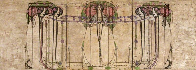Margaret Macdonald Mackintosh,  The May Queen , 1900, gesso, hessian, scrim, twine, glass beads, thread, mother of pearl and tin leaf on panel, 158.8 x 457 cm, Kelvingrove Art Gallery and Museum, Glasgow.   https://artuk.org/discover/artworks/the-may-queen-85037