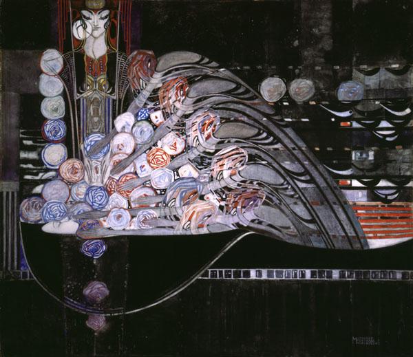Margaret Macdonald Mackintosh,  La Mort Parfumee , 1921, pencil, watercolour, gouache and gold paint on paper, 63 x 71.2 cm, Hunterian Art Gallery, Glasgow.   http://www.huntsearch.gla.ac.uk/cgi-bin/foxweb/huntsearch_Mackintosh/DetailedResults.fwx?SearchTerm=41288&reqMethod=Link&browseMode=on