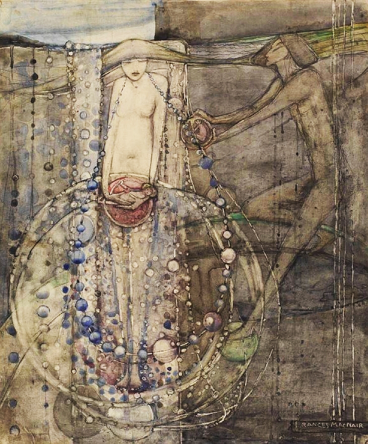 Frances Macdonald,  Man Makes the Beads of Life But Woman Must Thread Them , 1915, pencil and watercolour, 35.2 x 29.8 cm, Walker Art Gallery, Liverpool.   http://www.liverpoolmuseums.org.uk/walker/exhibitions/doves/finalwatercolours/beads_life_frances.aspx