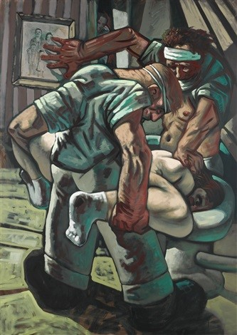 Peter Howson,  Croatian and Muslim , 1994, Oil on Canvas, Private Collection  http://www.artnet.com/WebServices/images/ll00209lld10MJFgVeECfDrCWvaHBOcmU8E/peter-howson-croatian-and-muslim.jpg