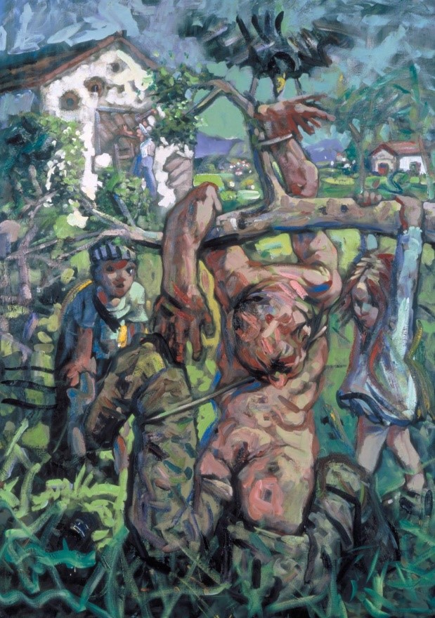 Peter Howson,  Plum Grove , 1994, Oil on Canvas, Tate http://www.tate.org.uk/art/artworks/howson-plum-grove-t06961