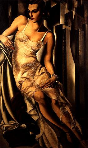Tamara de Lempicka,  Portrait of Mrs Allan Bott , 1930, oil on canvas, 162 x 97 cm, private collection.   http://www.delempicka.org/artwork/1930-1933.html