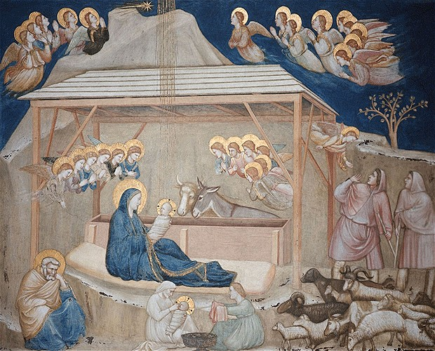 Giotto di Bondone,  Nativity Scene  in the Lower Church of San Francesco d'Assisi, 1304 und 1306.    http://the-creative-business.com/24-famous-paintings-nativity/ .